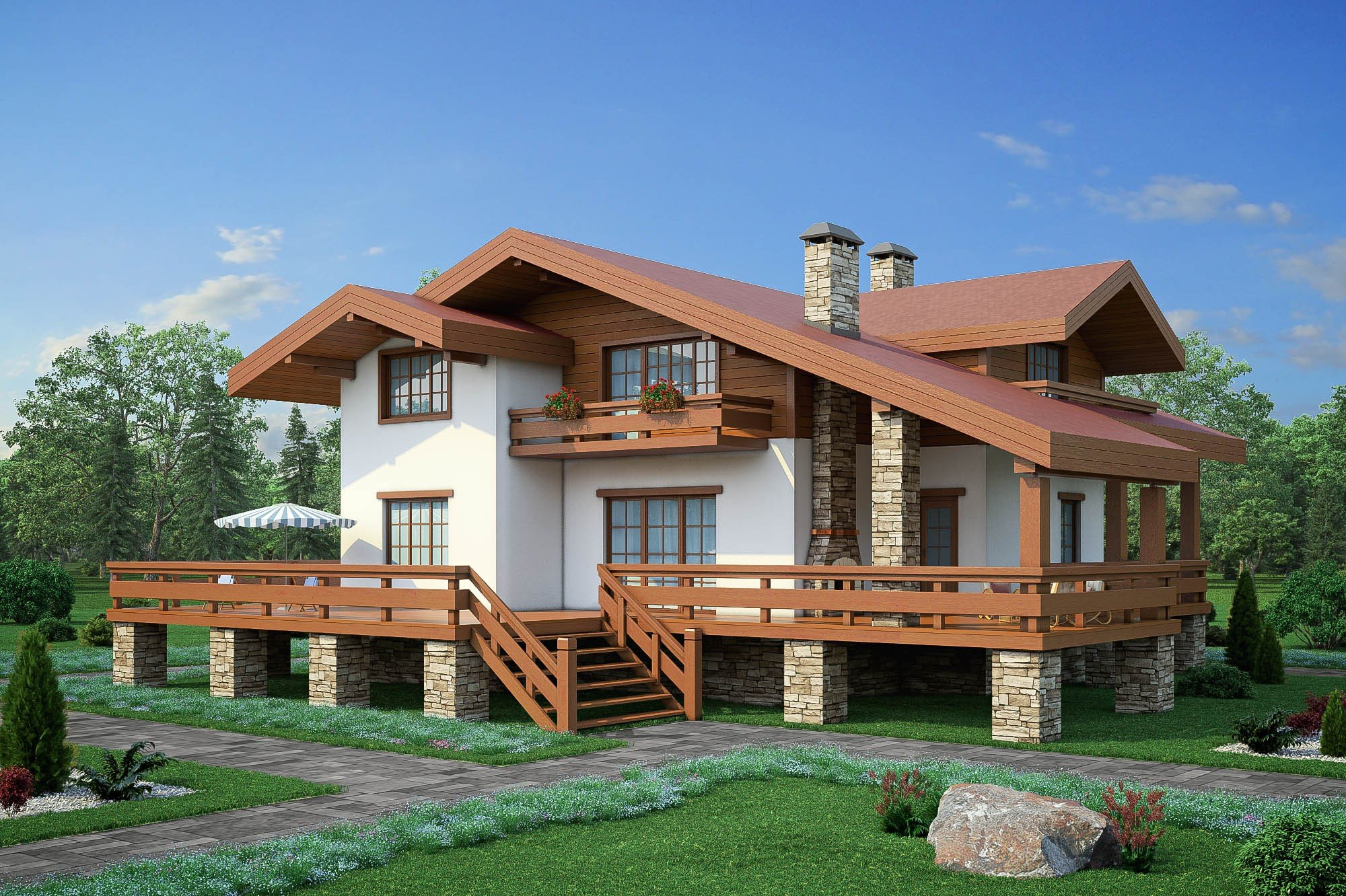 Проекты домов с террасой.