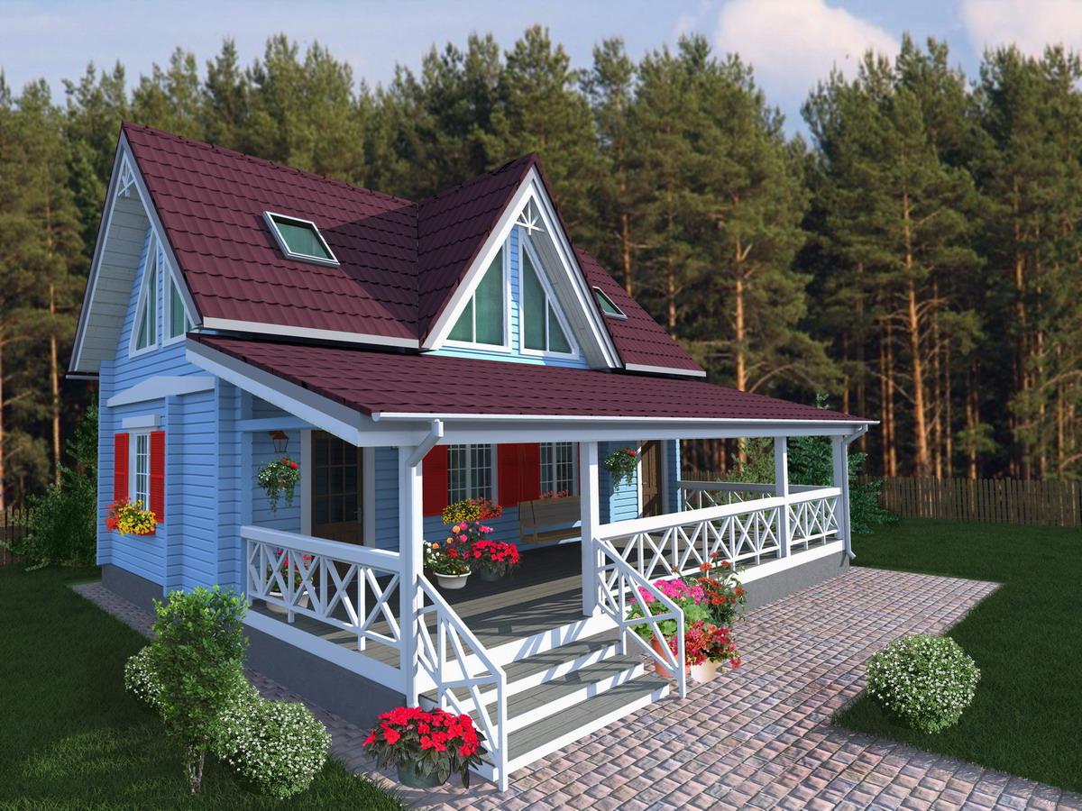 проекты домов с верандой фото